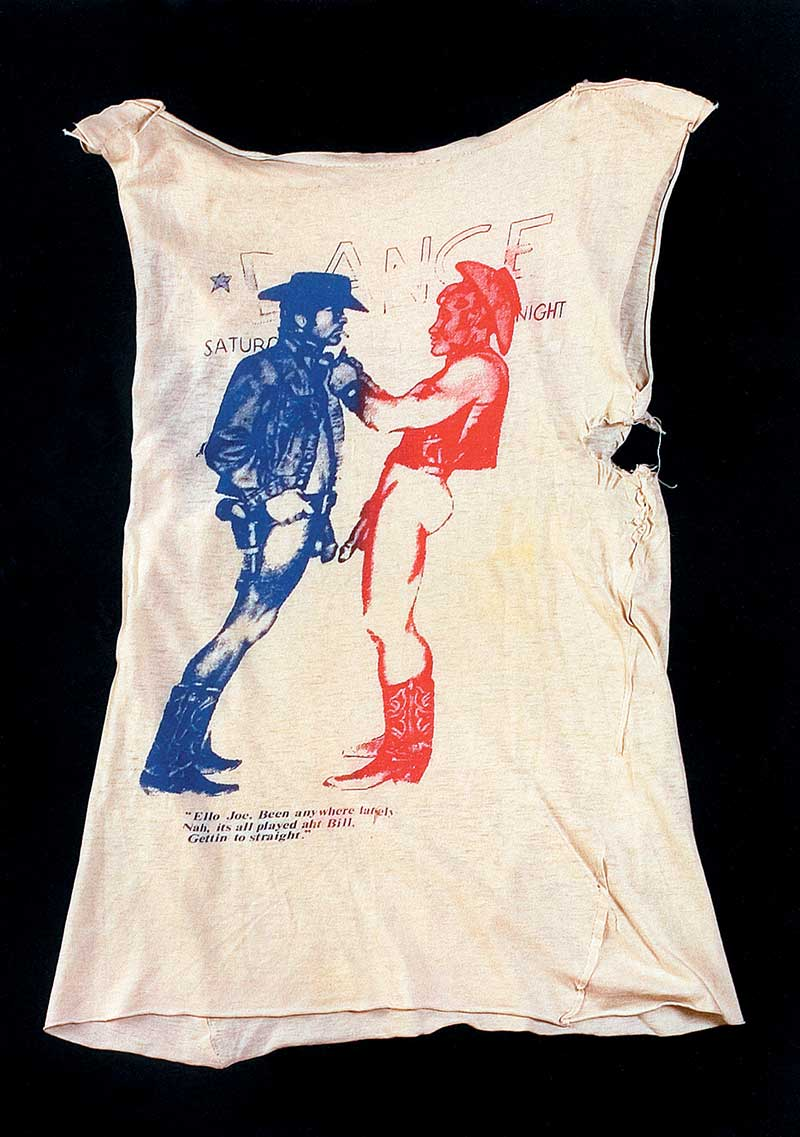 27f7be3a75 As well as all the other provocative t-shirts produced by Malcolm & Vivienne  at the time, the 'Cowboys' was one of the most infamous. Shop worker at the  ...