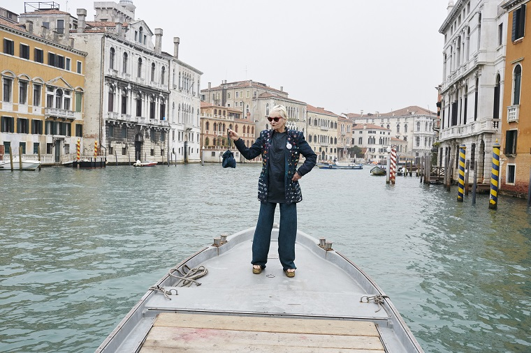 vivienne westwood on a barge in venice