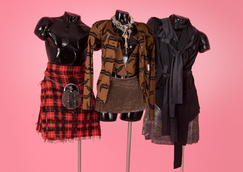 Vivienne Westwood kilt and other items on mannequins